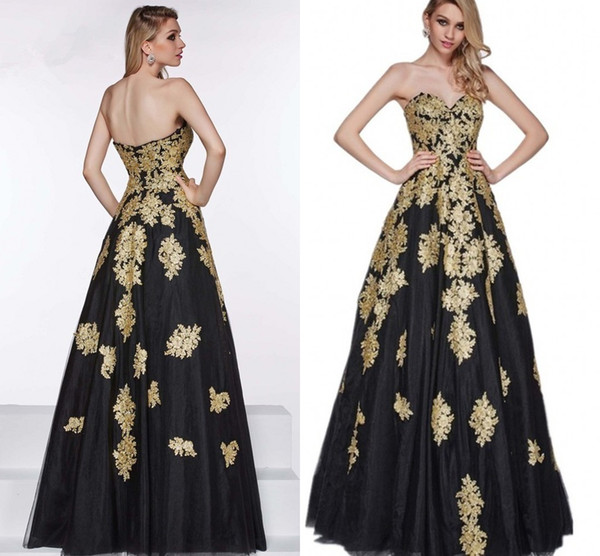 Hot Sale Black White Gold Applique Prom Dresses Party Gown ...