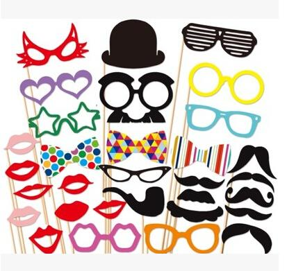 2014 New Arrival 31pcs different designs Funny Stick Mustache Photo Booth Props Wedding Photo Props For Wedding Party Fun