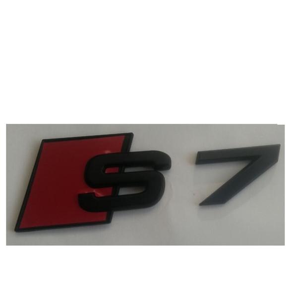 """Matte Black """" S 7 """" ABS Number Letters Trunk Emblem Badge Sticker for Audi S7"""