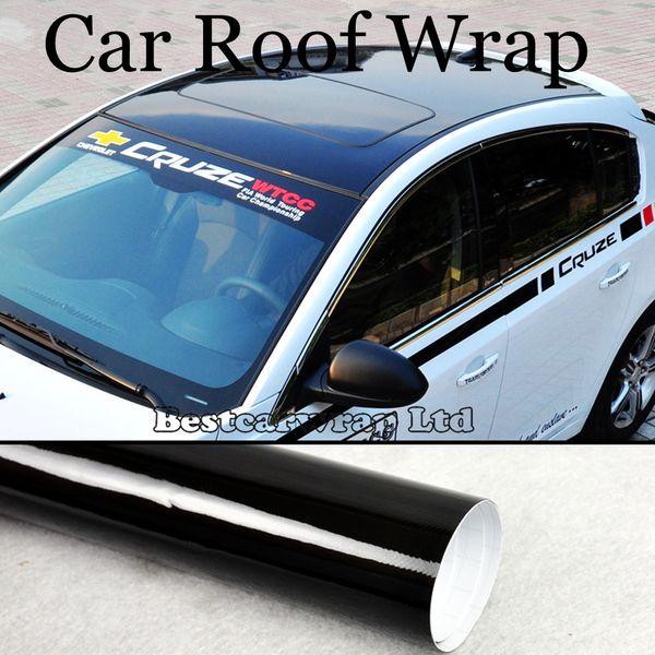 Envoltório do telhado 3 Camadas Ultra Brilhante Vinil Bolha de Ar Livre de Alto Brilho Preto Car Wrap Film Brilhante Adesivo Tamanho 1.35x15 m / Roll