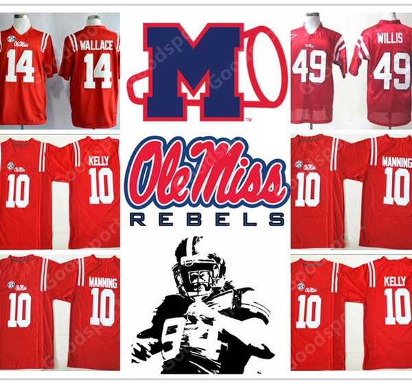 promo code 60164 0d6e3 2019 Stitched NCAA Ole Miss Rebels College Barry Sanders Eli Manning 10  Chad Kelly 10 Patrick Willis 49 Bo Wallace 14 Football Jersey Jerseys NEW  From ...