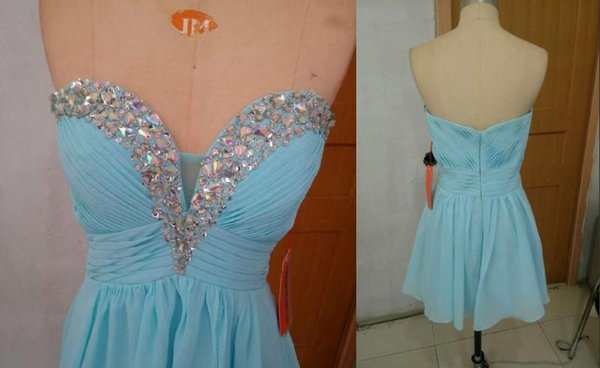 2016 Cheap Blue Bridesmaid Dresses Sweetheart Crystals Beads Pleated Chiffon Short Hot Selling Prom Gowns Zipper Back Custom Made B91