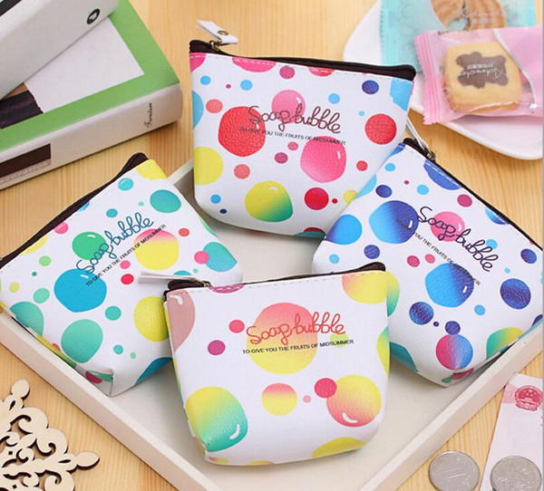 Color Dots wallet Lady girls coin purse craft gift clutch organizer bags travel cases handmade children kids pouches