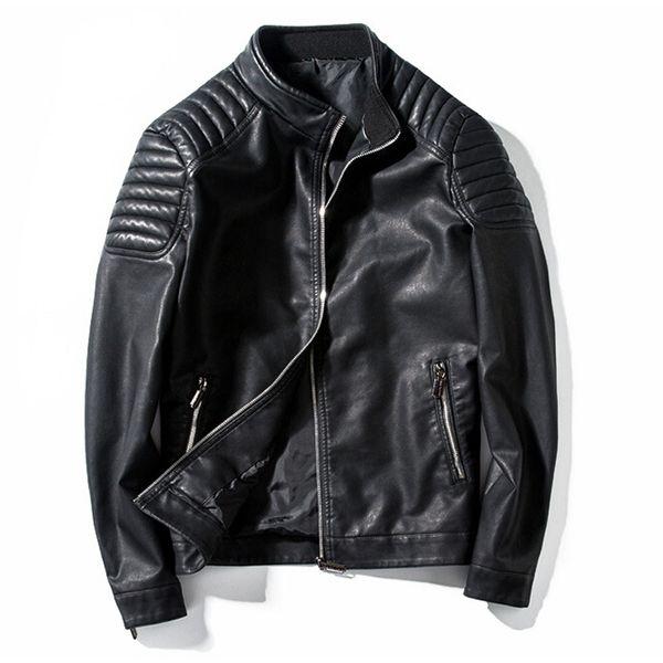 Großhandels - Motorrad Jacke Herren Lederjacke männlich lässig Stehkragen Mode Bomber Jacke jaqueta de couro masculino Outwear Mantel
