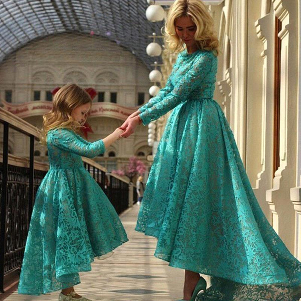 New Arabic Daughter And Mother Dresses Dark Teal Jewel Ball Gown With Long Sleeves Hi Lo Evening Dresses Flower Girls Dresses BO8941