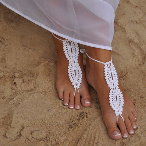 1 paire OU 2 PCS plage mariage sandales aux pieds nus, sandales en crochet blanc, chaussures nues, mariée, dentelle victorienne, chaussures sexy