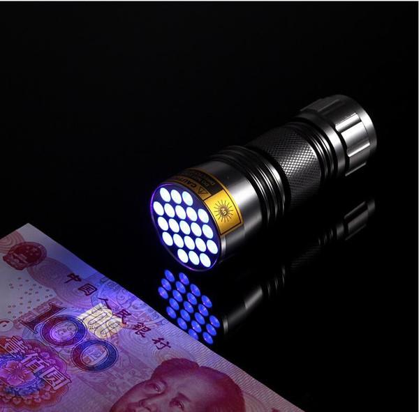 Vendita calda! 100pcs-New Ultravioletto 21 LED Torcia elettrica Mini Blacklight Torcia in alluminio Lampada Freeshipping