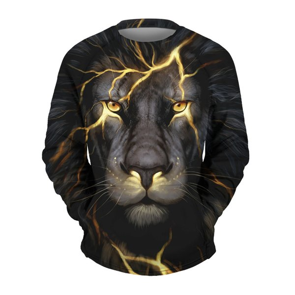 explosion digital printing and lightning lion baseball uniform Mens Long Sleeve Crew Neck Sweater Hoodie coat sleeve head movement New style