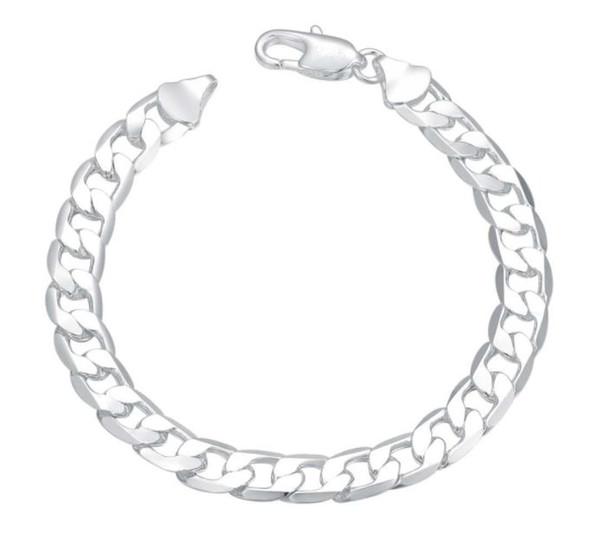 Men's bracelet 925 Silver Plated Jewelry 6MM 8MM 10MM 12MM Flat Curb Chain Bracelet Men's Bracelet Jewelry FREE DHL