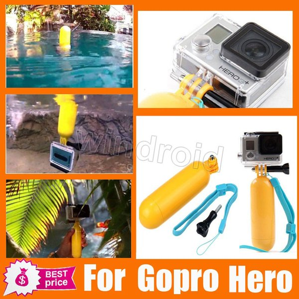 Floating Hand Grip Thumb Screw and Adjustable Wrist Strap Selfie stick For Gopro Hero 3+ 4 1 2 sports camera sport diving 50pcs free DHL