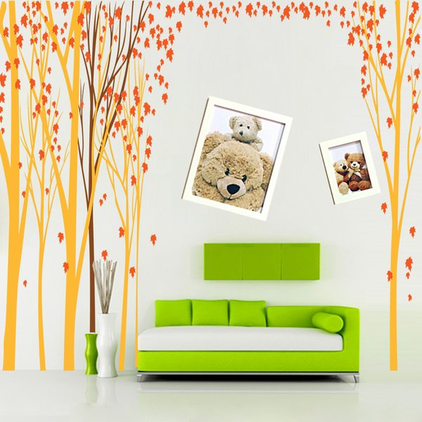 Super Large Autumn Maple Forest Wall Art Mural Decor Sticker TV Sofa Background Wall Applique Poster Fashion Home Art Decal 448 x 200CM