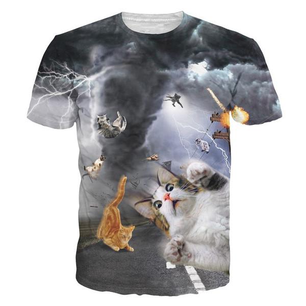 camisetas nuevas mujeres de la manera / los hombres camiseta divertida del animal doméstico de la camiseta de la impresión del gato camiseta ocasional de la historieta del hombre que lucha las camisetas del gato