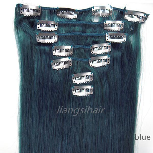 """Brazilian Blue Color 2 sets 15""""-22"""" 7pcs Straight Clip in Hair Brazilian/Malaysian/Peruvian/Indian Hair 100% Remy Human Hair Extensions"""