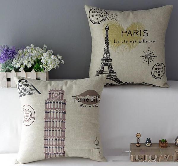 Alta qualidade de linho paris torre eiffel torre capa de almofada travesseiro fronha decoração home cadeira decoração para home decor sofá fronha