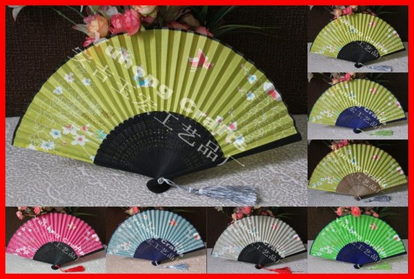 10pcs/lot free shipping high quality handmade Bamboo Frame artificial silk fabric folding fan with butterfly & flower design assorted colors