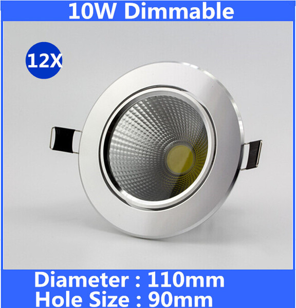 Holesale COB Led Downlight Recessed 10w Led Ceiling Light Down Lights Fixture for Kitchen Bedroom 90-240v Silver Shell Dimmable Lamp