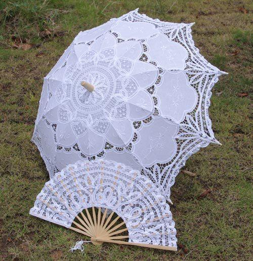 Vente chaude De Mariage Dentelle Parasols De La Mariée Et Des Fans Ensembles Parapluie De La Cour Européenne nouveau Accessoires de Photographie Beaux Accessoires De Mariée