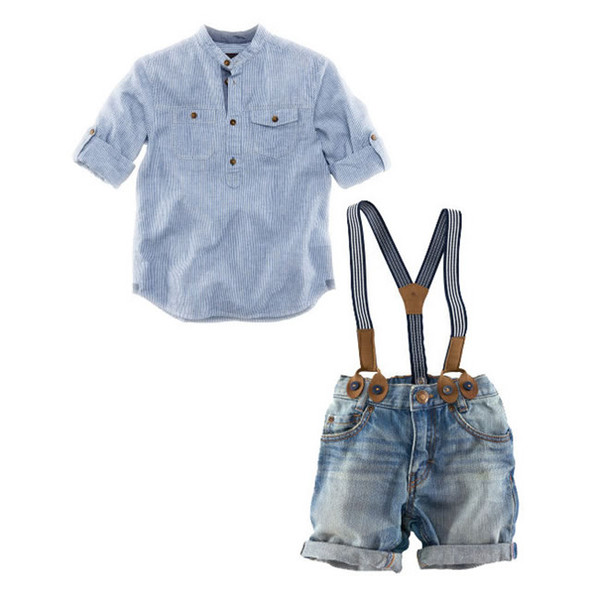 Summer Baby Boys Denim Sets Vêtements Chemises Casual à rayures bleues + jarretelles Shorts Jeans Pantalons 2PC Costumes Costume Vêtements pour enfants