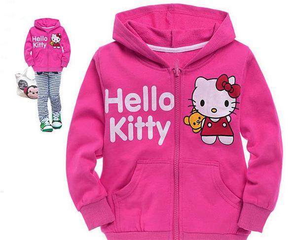 Chaqueta de las niñas con capucha Abrigo de los niños Abrigo de invierno Outwear Abrigo de los niños NWT Niñas Encantadora Hello Kitty Rose Sudadera con capucha roja Ropa de moda para niña