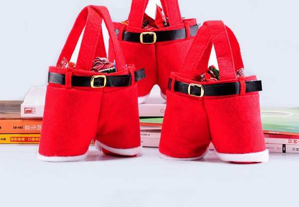Hot New Creative Cute Small Red Christmas Decoration Santa Pants Gift Bags Lovely Best Supplies Handmade Wholesale! free shipping TY502