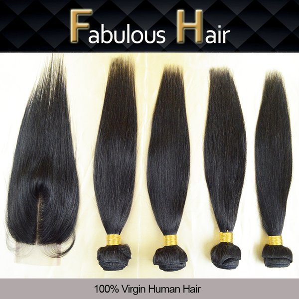 5A Hair Lace Top Closure 3.5x4 Middle Part With 4 Bundles Unprocessed Peruvian Virgin Straight Human Hair Weft Weave Extensions 5Pcs Lot