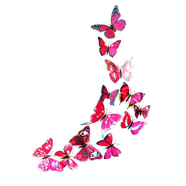 12Pcs/Set 3D Butterfly Art Decal Home Decor PVC Butterflies Wall Stickers
