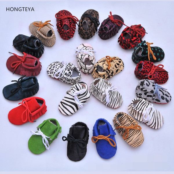 Wholesale- HONGTEYA 20colors Genuine Leather Baby Moccasins Shoes lace up leopard red bottom sole Baby Shoes first walker toddler Shoes