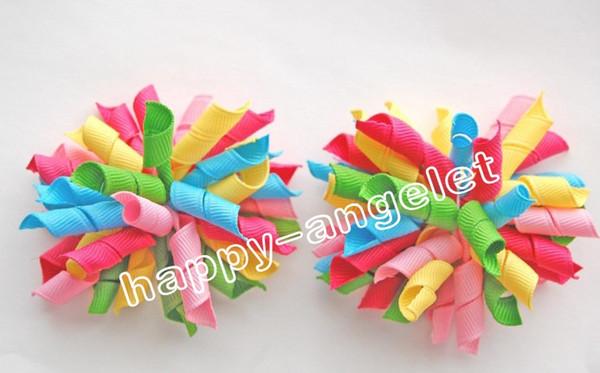 "baby flower hair bows 600 pcs 3.5"" Korker Hair bow, hairs clips, grosgrain ribbon bows Corker satin hairband flowers PD007"