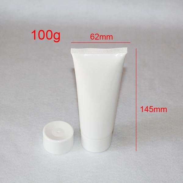 100g DIY empty white plastic tube bottles for cosmetics ,100ml PE handcream / facial cleanser container bottles 24pc/lot