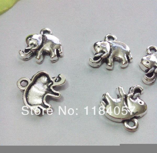 120pcs Tibetan Silver Tone Elephant Charms Pendants Fashion Jewelry DIY Floating Charm 14x14mm Charms Cheap Charms