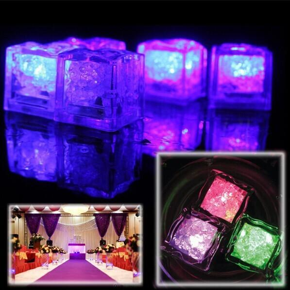 120pcs/lot colorful Square Romantic LED Ice Block Crystal Light Up Water Sensor Switch Wedding Party Supply 1203#03