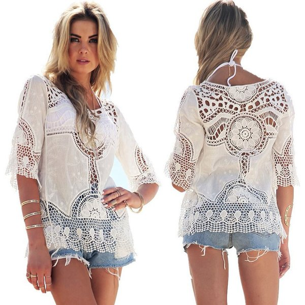 women summer bikini cover-ups hollow sexy lace bohemian beach blouses shirts perspective seaside tops holiday swimwear beachwear dress