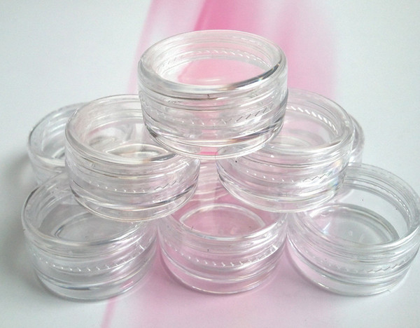 200pcs 5g/ml transparent small round bottle with lid jars pot container clear plastic sample container for nail art storage