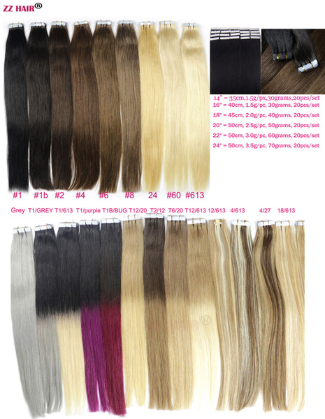 "ZZHAIR 14""-24"" Tape In Remy Hair 100% Human Hair Extensions 20pcs/pack Tape In Hair Skin Weft 30g-70g"