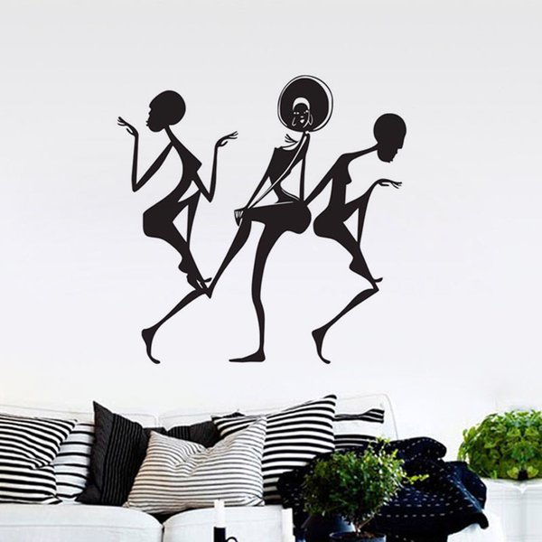 Africa African Dancing Girl Wall Decals Sexy Pose Home Decor Wall Stickers Adhesive Vinyl Decals