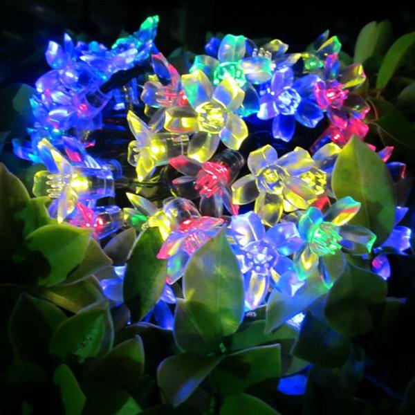 Flor de pêssego série de lâmpada de energia Solar 50 led corda luz à prova d 'água ipc65 out porta led string com colorido led DHL livre
