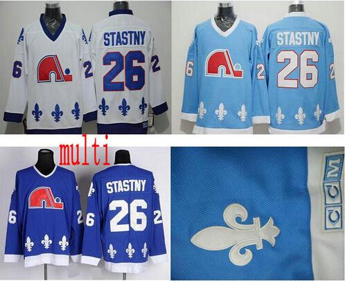 Top Quality ! Men Retro Quebec Nordiques Jerseys Cheap 26 Peter Stastny  Vintage CCM Authentic Stitched Ice Hockey Jerseys Mix Order ! 31036f0b4