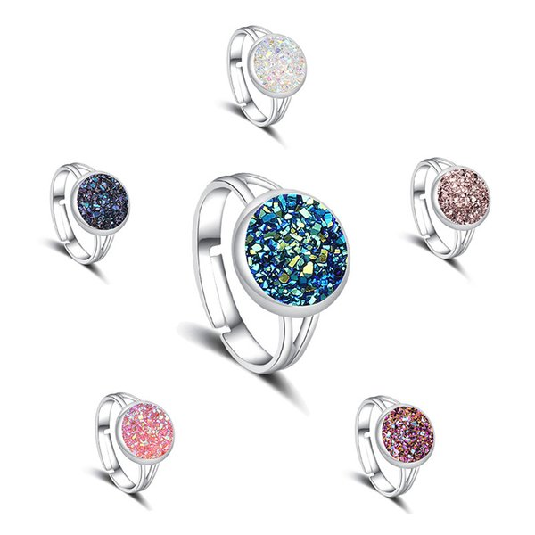 6 Colors Resin Druzy Drusy Ring Popular Silver Plated Faux Rock Stone Rings Women New York Jewelry