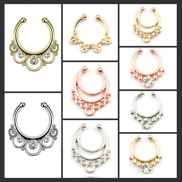 10pcs mixed hoop nose rings alloy rose gold and silver faux septum ring fake nose piercing with crystal for women N0038