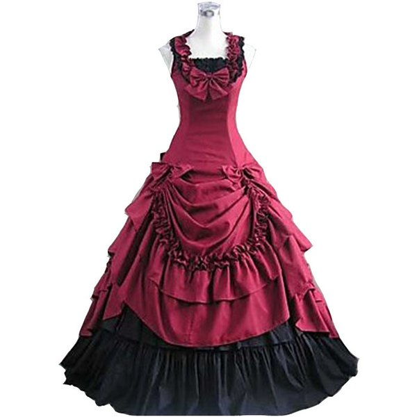 Sleeveless Floor-length Red Satin Princess Lolita Dress Victorian dress Southern Belle Costume for women Halloween Cosplay