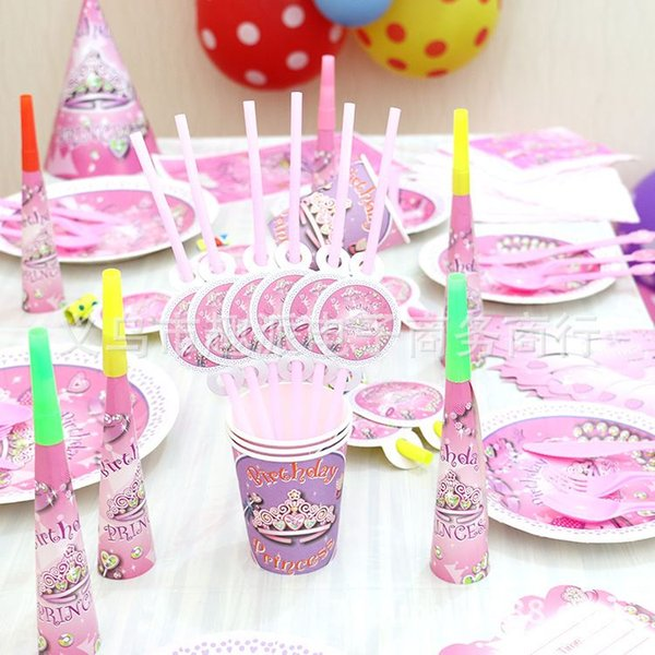 Crown Princess Fantasy Girls Theme Packages For Children Birthday Party Supplies Kids Dress Layout