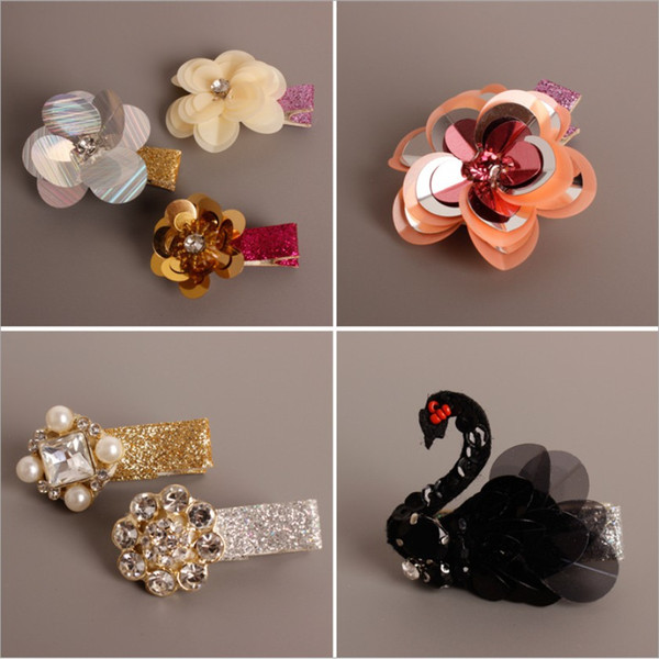 20 Styles Baby Girls Glitter Hair Clips Barrettes Handmade Rhinestone Flower Pearls Hairpins Children Hair Accessory