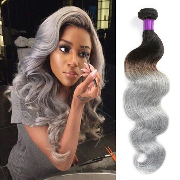 Silver Ombre Hair Extensions Brazilian Virgin Hair Body Wave 2 Tone