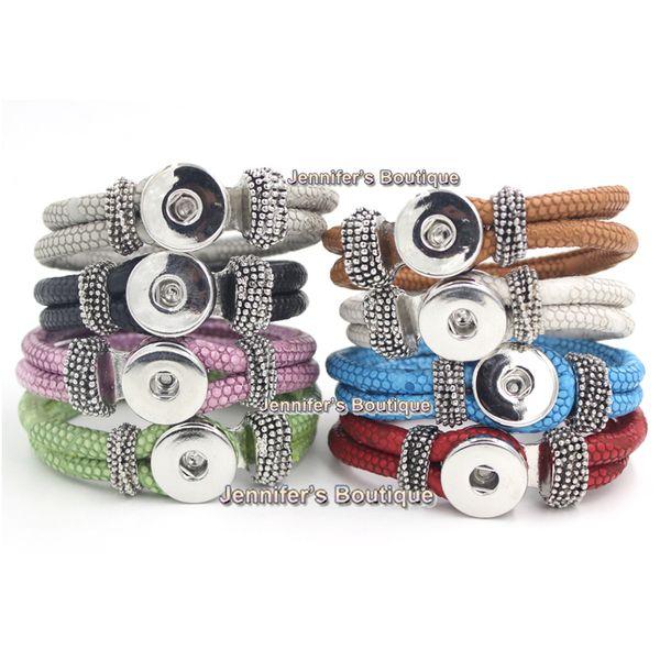 top popular 8 Colors New Hot Sale Jewelry DIY Chunks Snap Bracelet,Trendy Snap Bracelets 8 Colors Snap Leather Bracelet Interchangeable Jewelry 2019