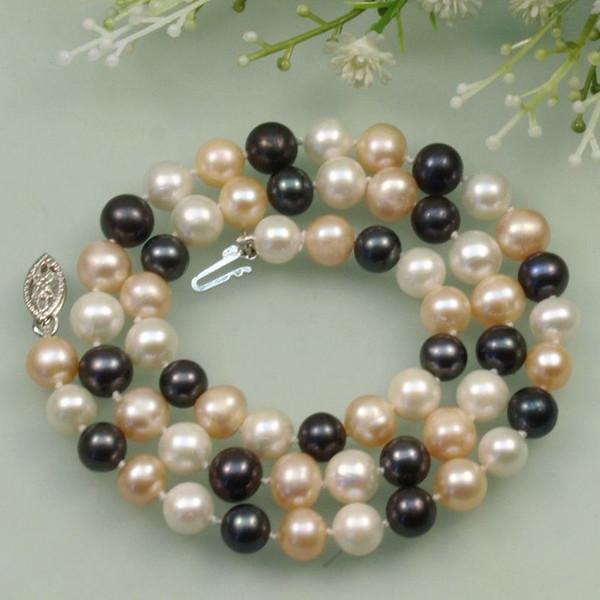 Collana di perle Akoya naturali coltivate in acqua dolce di colore nero bianco 8-9mm