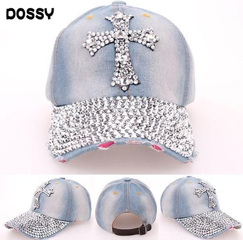 Calidad Rhinestone Bling Cross Hats Washed Denim Gorras de béisbol ajustables Fancy Curved Hat Adultos Womens Summer Designer Skull Caps