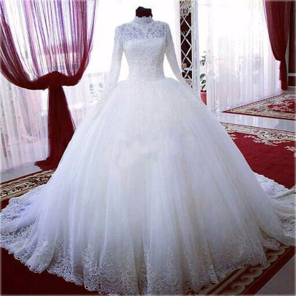 Vintage Long Sleeves High Neck Lace Wedding Dresses Discount With Sweep Train Ball Gown Princess Bridal Wedding Gowns Plus Size Cheap Noiva