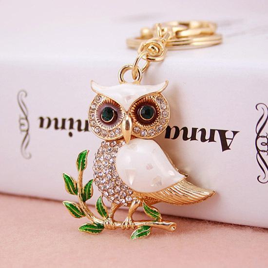 Drop Shipping Creative Olive Banch Enamel Rhinestone Night Owl Key chains woman keyring,Purse/handbag Charms,Real Gold Plated Alloy Keyring