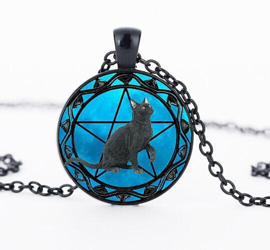 Black Cat pendant wiccan Necklace collar Wicca Pentagram blue Glass pendant cristal colgante Wicca collar CN1002