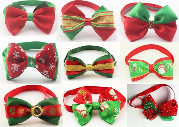 200pc/lot Christmas Holiday Dog Bow Ties Cute Neckties Collar Pet Puppy Dog Cat Ties Accessories Grooming Supplies P88